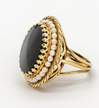 Load image into Gallery viewer, Large Black Onyx & Cultured Pearl Vintage Ring - 14kt Yellow Gold