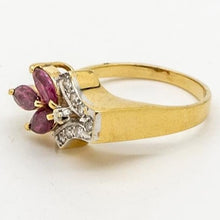 Load image into Gallery viewer, Sparkling Diamond and Ruby Ring, 14kt Yellow Gold