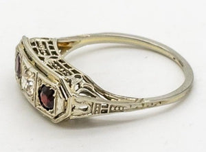 Vintage Garnet and Diamond Filigree Ring - 10kt White Gold