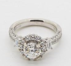 Stunning HaloPave Engagement Ring Setting, 14kt White Gold