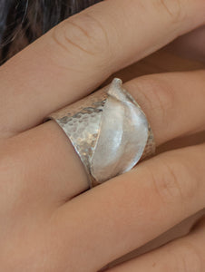 Sterling Silver Adjustable Cuff Ring with Fine Silver Accent Leaf