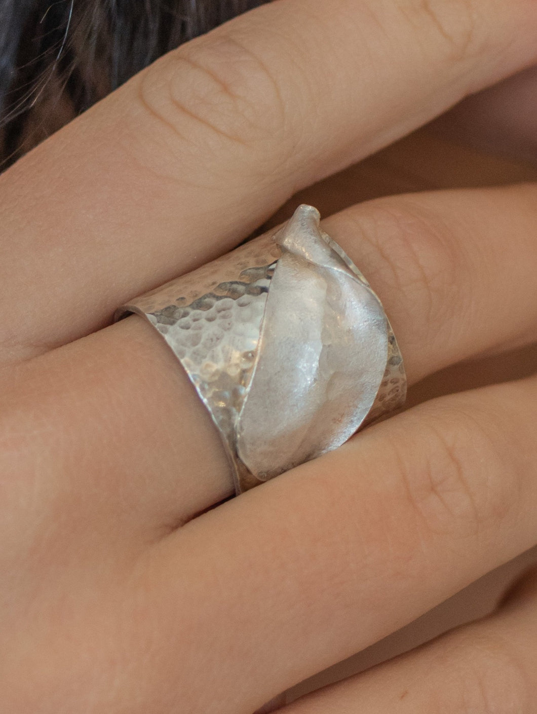 Adjustable Cuff Ring - Sterling Silver with Fine Silver Accent Leaf