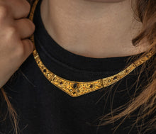 Load image into Gallery viewer, Byzantine Jeweled Collar Necklace - Gold Vermeil with Gemstones