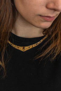 Byzantine Jeweled Collar Necklace - Gold Vermeil with Gemstones