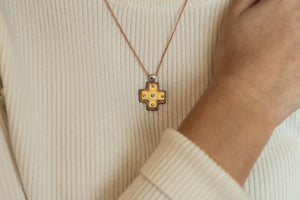 Layered Small Byzantine Orthodox Cross - 18kt Gold, Fine Silver & Copper with Diamond
