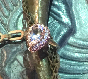Pear Shaped Morganite, Pink Topaz & Diamond Rose Gold Ring