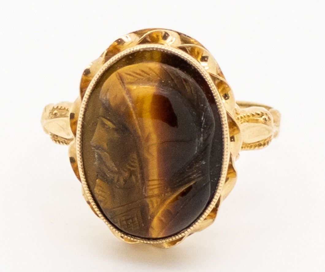 Vintage Tiger's Eye Ring with a Trojan Head Cameo - 10kt Yellow Gold