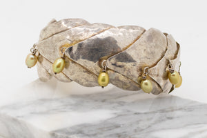 Hand Crafted Cuff Bracelet - Fine Silver with Freshwater Pearls