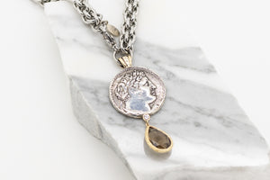 Handcrafted Alexander Coin Pendant - Sterling Silver , 14kt Gold & Stainless Steel with Citrine
