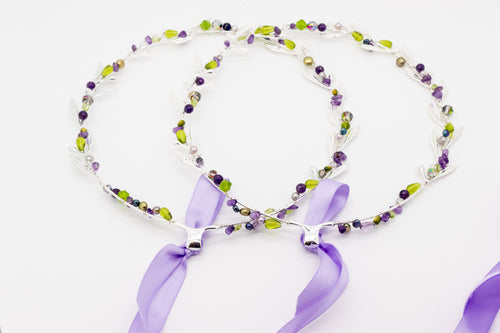 Olympic Style Stefana Set with Amethyst - Silver Tone