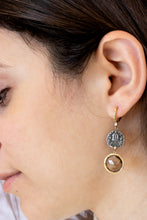 Load image into Gallery viewer, Handcrafted Theofilos Coin with Gemstone Earrings - Sterling Silver & 14kt Gold
