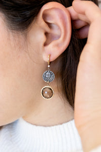 Handcrafted Theofilos Coin with Gemstone Earrings - Sterling Silver & 14kt Gold