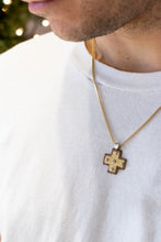 Load image into Gallery viewer, Layered Small Byzantine Orthodox Cross - 18kt Gold, Fine Silver & Copper with Diamond