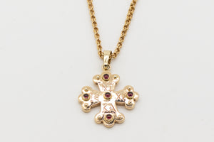 Apollo Byzantine Orthodox Cross - 18kt Rose Gold with Garnet Cabochons