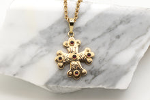 Load image into Gallery viewer, Apollo Byzantine Orthodox Cross - 18kt Rose Gold with Garnet Cabochons