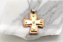 Load image into Gallery viewer, Layered Large Byzantine Orthodox Cross - 18kt Gold, Fine Silver & Copper with Diamond