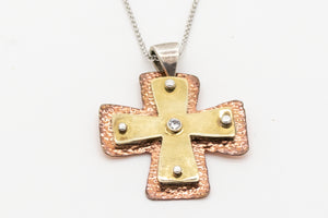 Layered Large Byzantine Orthodox Cross - 18kt Gold, Fine Silver & Copper with Diamond