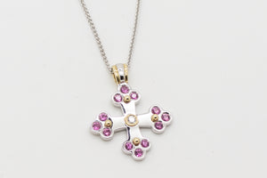 Sophia Byzantine Orthodox Cross  - Two Tone with Pink Sapphires
