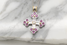 Load image into Gallery viewer, Sophia Byzantine Orthodox Cross  - Two Tone with Pink Sapphires