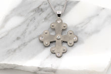 Load image into Gallery viewer, Angelos Byzantine Orthodox Cross - Stainless Steel with Crystals