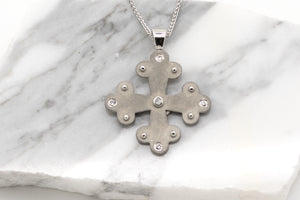 Angelos Byzantine Orthodox Cross - Stainless Steel with Crystals