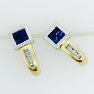 Sapphire & Diamond Two Tone Earrings