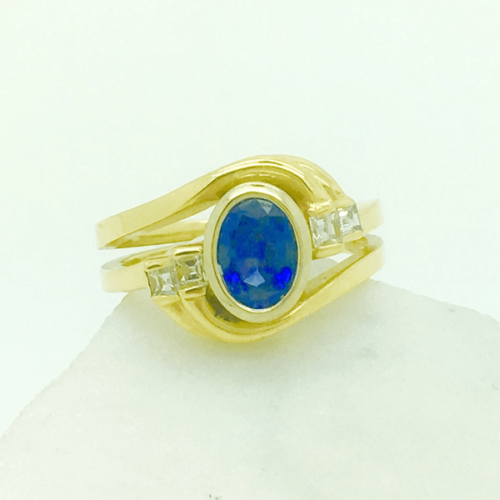 Diamond and Oval Sapphire Ring