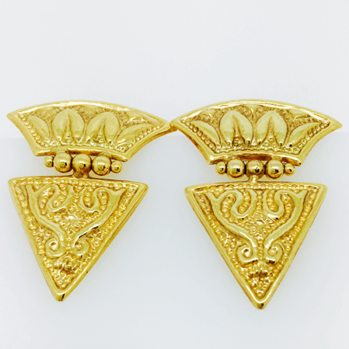 Byzantine Style Statement Earrings - 14kt Yellow Gold
