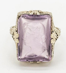 Vintage Hand Carved Amethyst Cameo Ring - 18kt White Gold