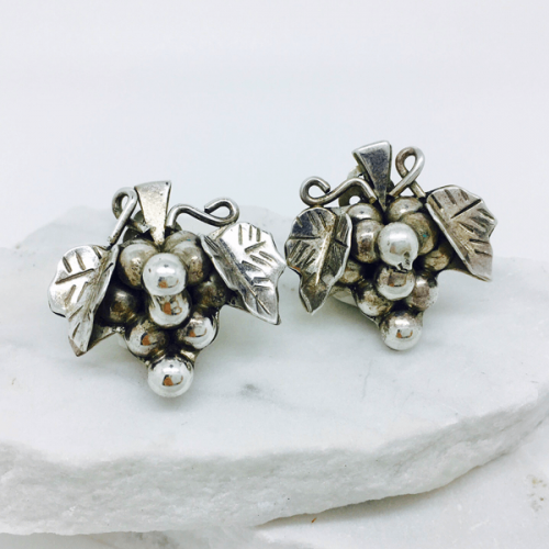 Mexican Grape and Vine Earrings - Sterling Silver