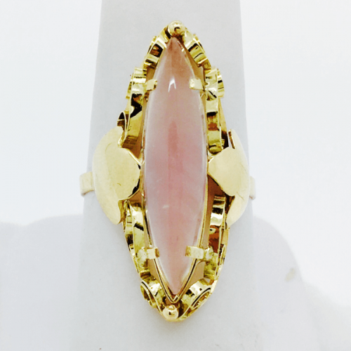 Navette Shaped Rose Quartz Ring - 14kt Yellow Gold