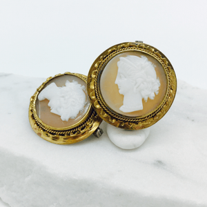 Pair of Round Cameo Skatter Pins c.1910 - 9kt Yellow Gold