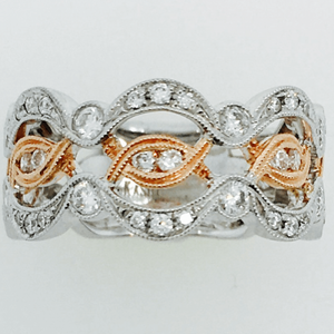 Beautiful Diamond White and Rose Gold Band Ring