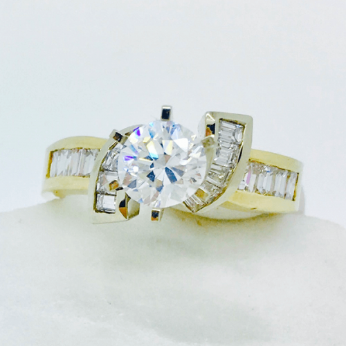 Baguette Two Tone Engagement Ring Setting - 14kt White & Yellow Gold