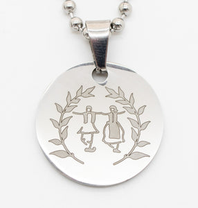 'Dance Greek Collection' Large Pendant Engraved with Greek Dancers