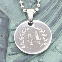 Load image into Gallery viewer, Large Pendant Engraved with Greek Dancers - Silver Tone