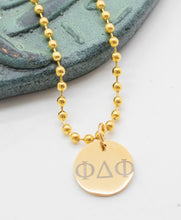 Load image into Gallery viewer, Pendant with Greek Letters 'FDF' (Dance Festival) - Gold Tone