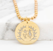 Load image into Gallery viewer, 'Dance Greek Collection' Round Pendant Engraved w/ Dancers and Olive Branches