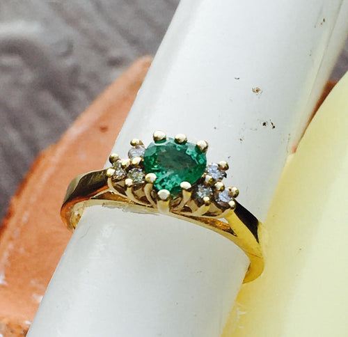 Heart Shaped Emerald & Diamond Ring