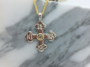 Haralambos Byzantine Orthodox Cross - Sterling Silver & 14kt Gold with Diamond