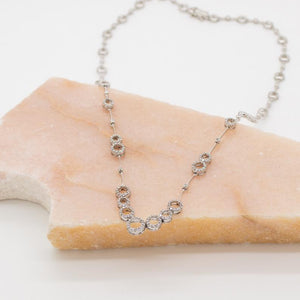 "Beautiful Diamond ""Halos"" Necklace is set in 14kt White Gold"