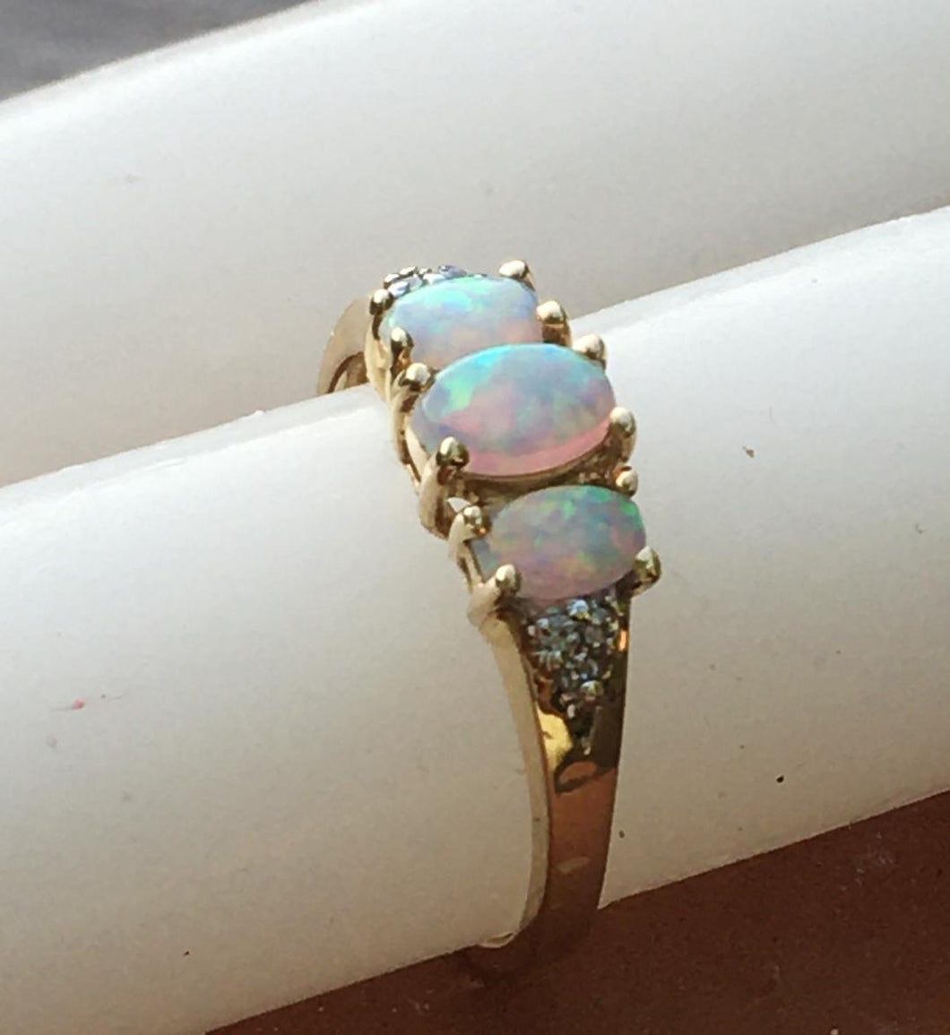 Three Stone Synthetic Opal Ring with Accent Diamonds