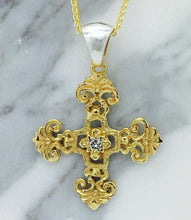 Load image into Gallery viewer, Filigree Byzantine Orthodox Cross - 14kt Gold with Sterling Silver Bale and Center Diamond