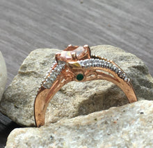 Load image into Gallery viewer, Morganite & White Topaz Ring with Accent Emerald on Side