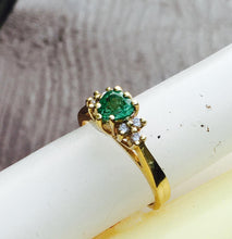 Load image into Gallery viewer, Heart Shaped Emerald & Diamond Ring