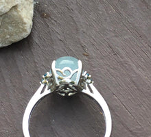 Load image into Gallery viewer, Milky Aquamarine & Blue Topaz Ring