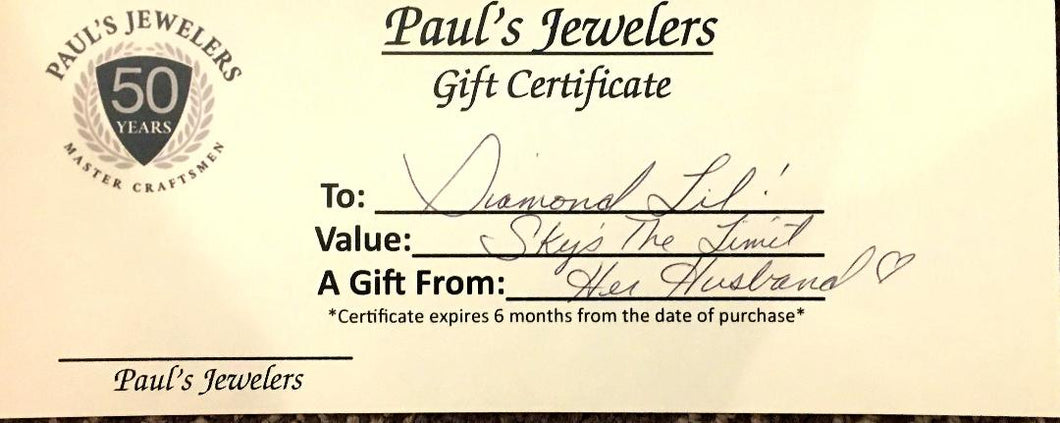 Paul's Jewelers Inc. Gift Certificate