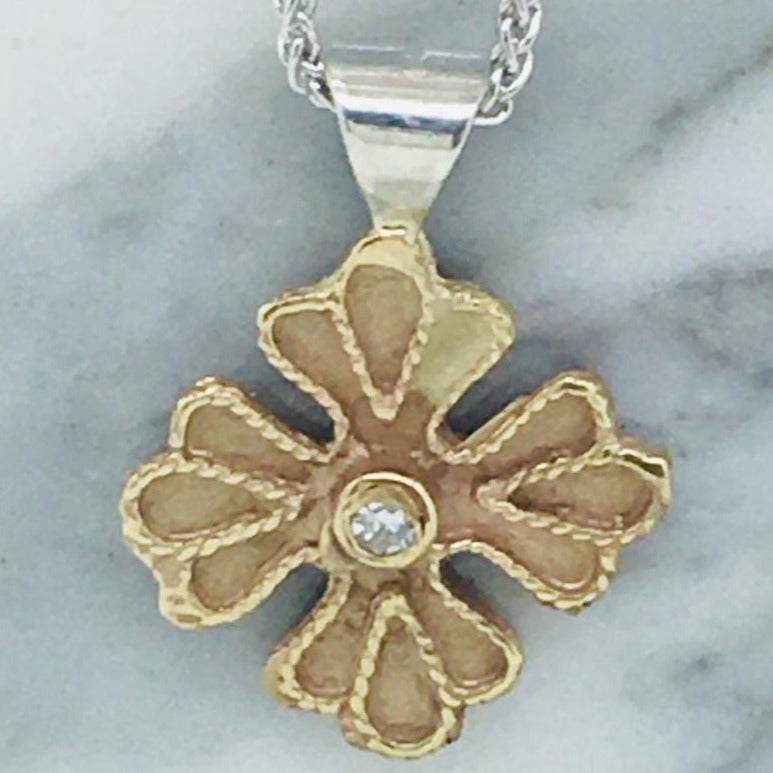 Petite Byzantine Orthodox Cross - 14kt Gold with Sterling Silver Bale and Diamond