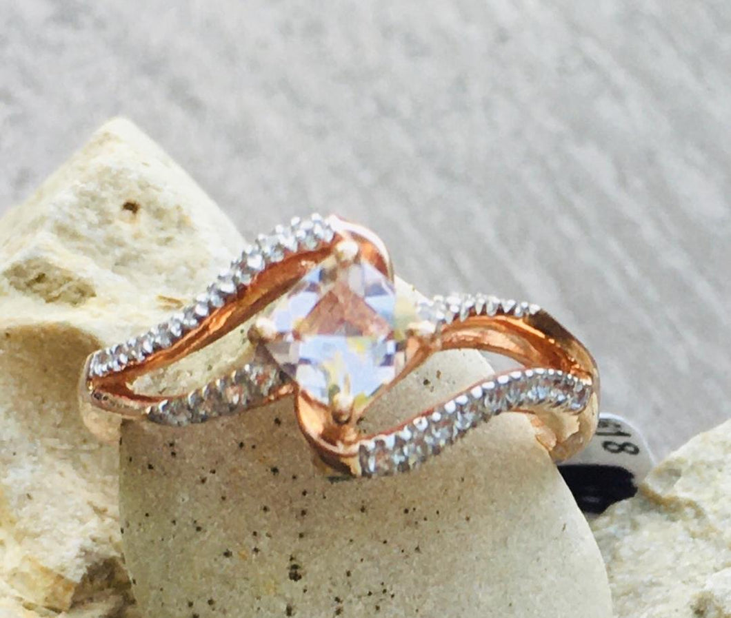 Morganite & White Topaz Ring with Accent Emerald on Side
