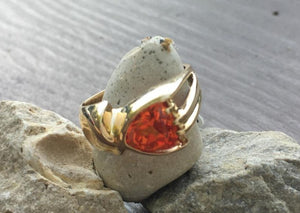 Orange Sapphire (Synthetic) 14kt Ring